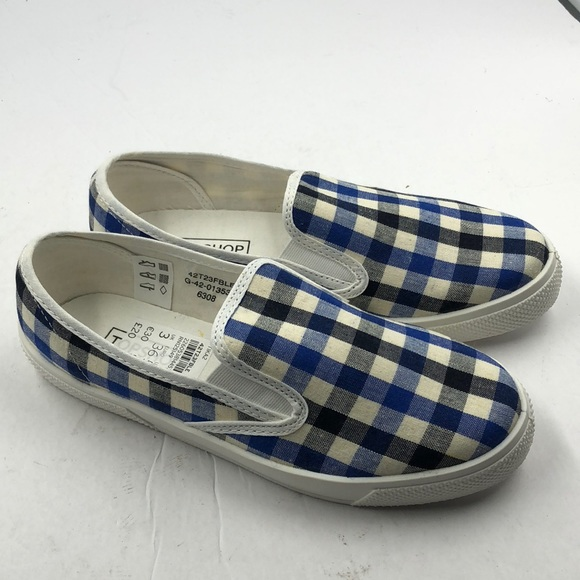 638f6e28038 NEW Topshop Blue Plaid Women s Loafers 5.5